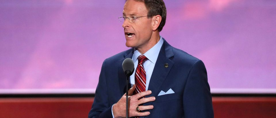 Tony Perkins leads the U.S. Pledge of Allegiance at start of the final day of the Republican National Convention in Cleveland