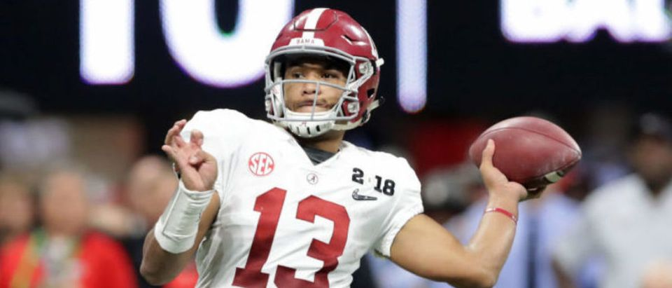 ATLANTA, GA - JANUARY 08: Tua Tagovailoa #13 of the Alabama Crimson Tide throws a pass during the second half against the Georgia Bulldogs in the CFP National Championship presented by AT&T at Mercedes-Benz Stadium on January 8, 2018 in Atlanta, Georgia. (Photo by Streeter Lecka/Getty Images)