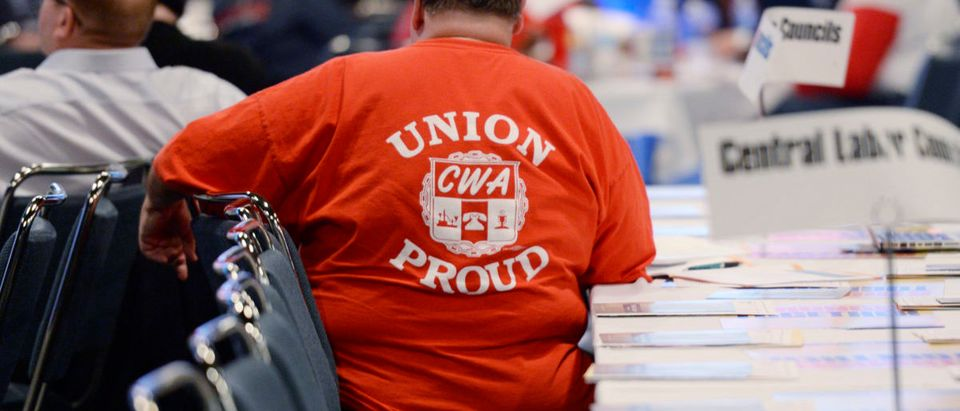 A member of American Federation of Labor-Congress of Industrial Organizations attends the AFL-CIO 2013 Convention in Los Angeles