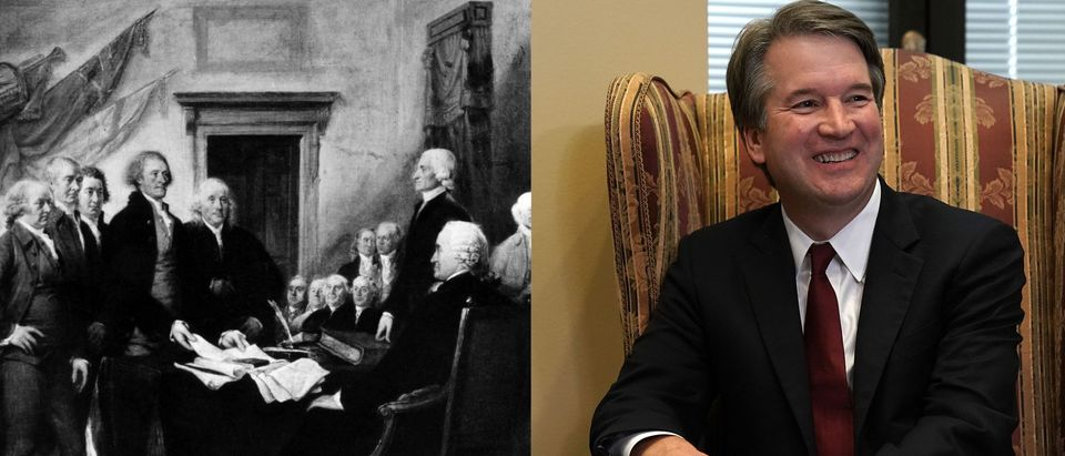 The Signing of the Declaration/ Brett Kavanaugh/ Shutterstock and Getty Images/ Alex Wong and Everett Historical