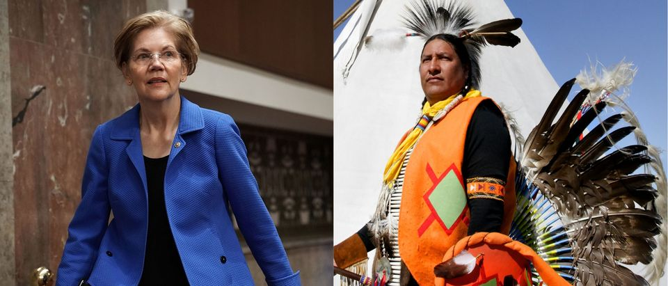 Elizabeth Warren beside a Cherokee Indian in traditional garb, Getty Images and Shutterstock/ By Waddell Images and Alex Wong