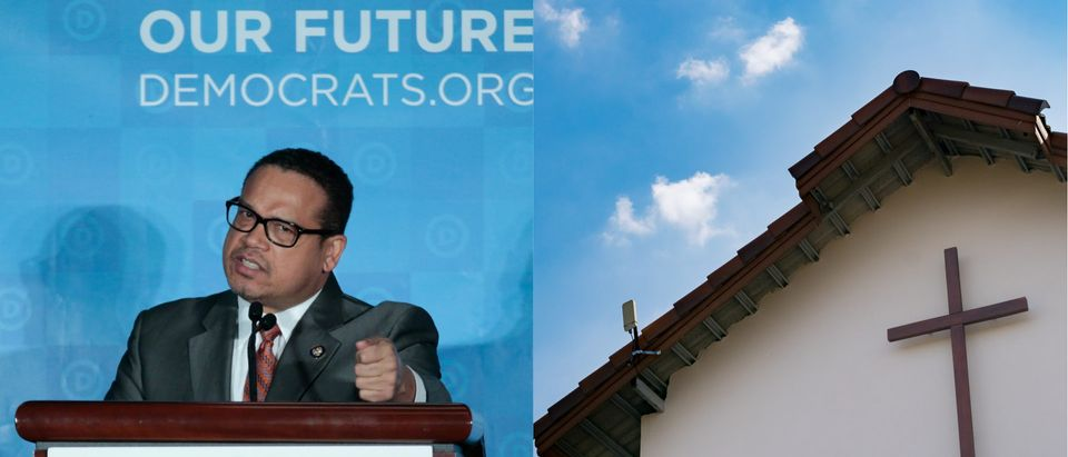 Keith Ellison, Christian church/ Reuters and Shutterstock/ By bkkfoto and Chris Berry