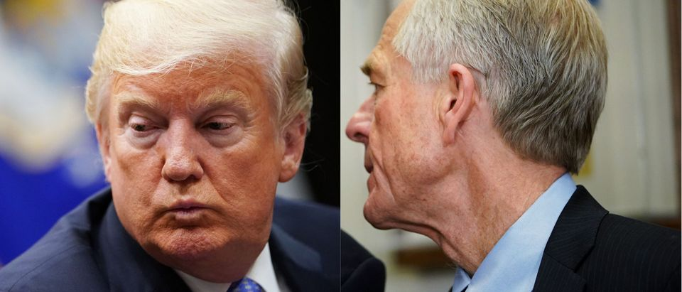 Peter Navarro whispering to President Donald Trump, (Credit: Getty Images)
