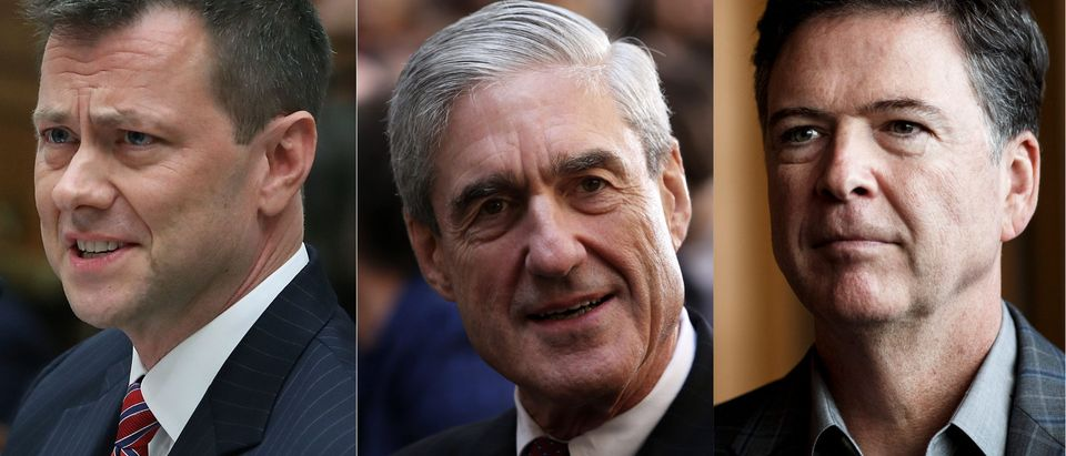 Family photo: Strzok, Mueller, and Comey/ Getty Images