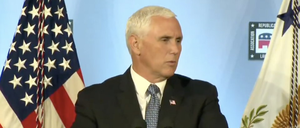Vice President Mike Pence speaking on August 24, 2018 at the Republican National Lawyers Association. (Screenshot/Twitter)