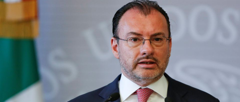 Mexico's Foreign Minister Luis Videgaray speaks during a joint message in Mexico City