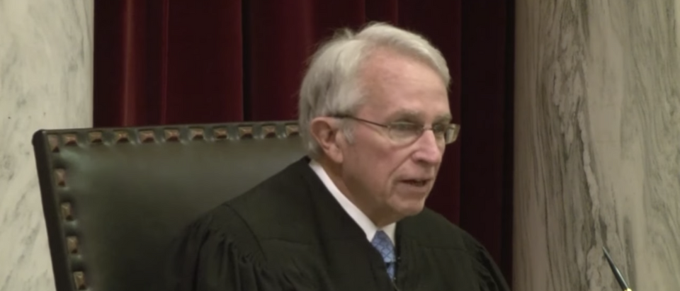 West Virginia Supreme Court Justice Menis Ketchum at oral arguments. (Screenshot:WTRF 7News)