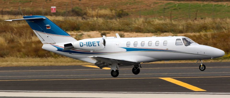 Luqa, Malta May 10, 2018: A private Cessna 525 Citation CJ2 [REG; D-IBET] performing a midfield landing runway 31.