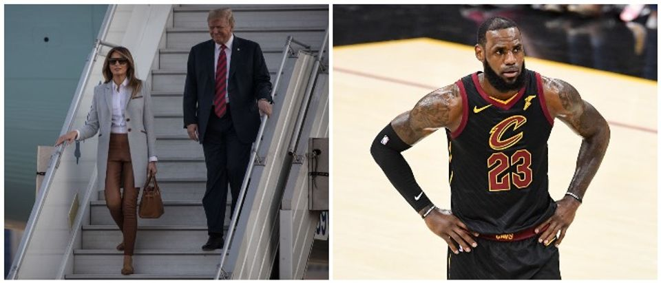 Combo photo between LeBron James and the President and First Lady (LEFT: Photo by Chris McGrath/Getty Images RIGHT: Photo by Jason Miller/Getty Images)