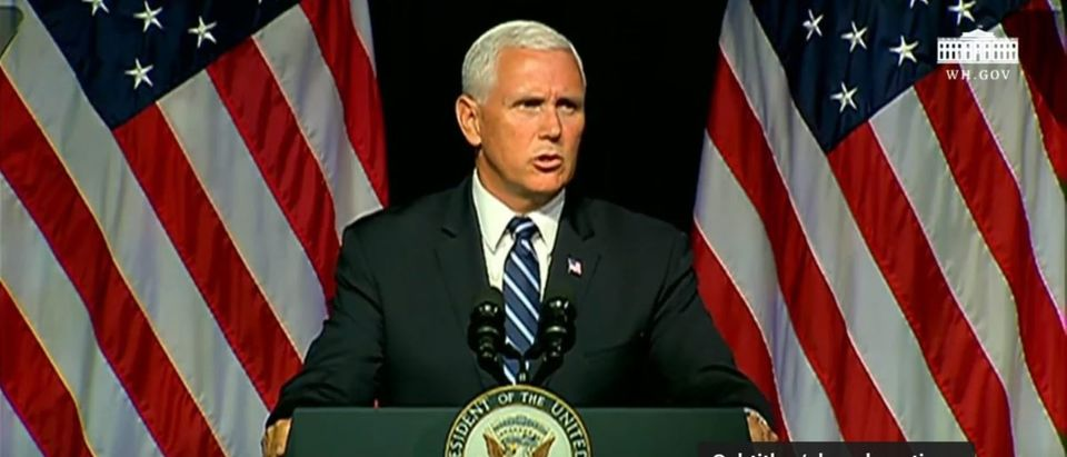 Vice President Mike Pence outlines a Pentagon report about creating a U.S. Space Force at the Pentagon on August 9, 2018. YouTube screenshot