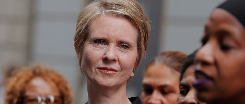 "Cynthia Nixon, former ""Sex and the City"" star and current candidate for governor of New York, attends a campaign event on Wall St. in New York City, U.S., August 22, 2018. REUTERS/Brendan McDermid"