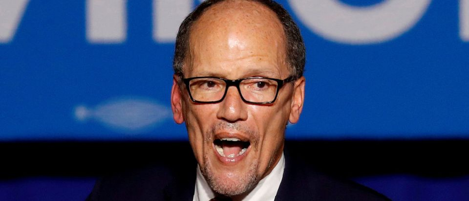 FILE PHOTO: Democratic National Committee Chairman Tom Perez speaks at Ralph Northam's election night rally on the campus of George Mason University in Fairfax, Virginia, November 7, 2017. REUTERS/Aaron P. Bernstein
