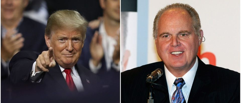 President Donald Trump called into the Rush Limbaugh show to congratulate him in 30 years on radio
