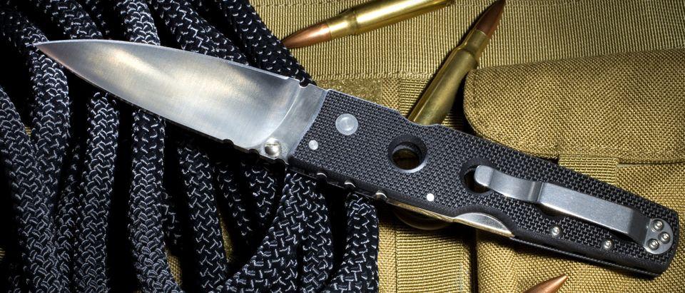Folding self defense knife that has a black handle. (Guy J. Sagi/Shutterstock)