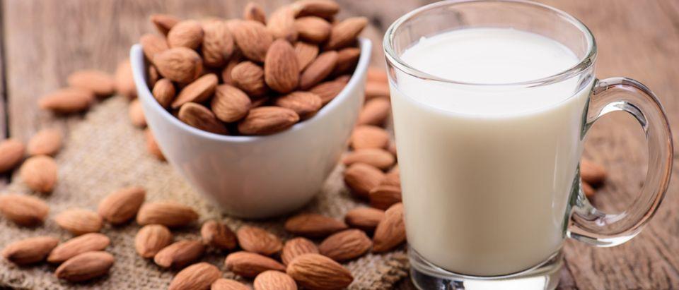 Almond milk in glass with almonds. (Shutterstock/ Looker_Studio)