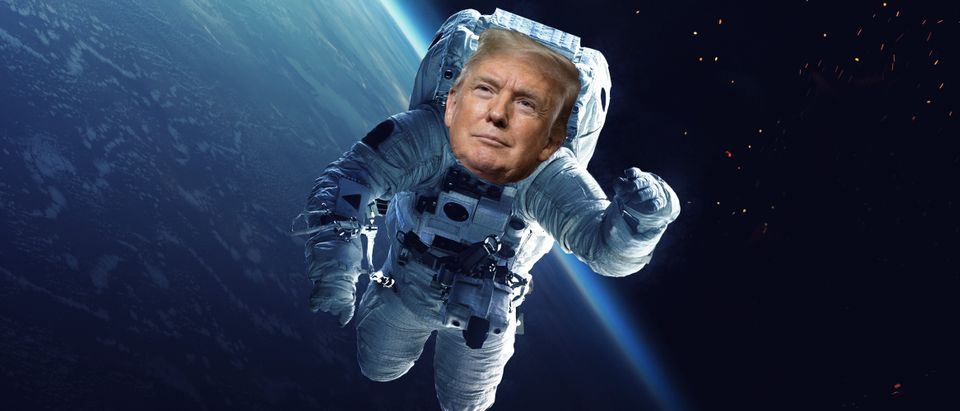 Trump in space, Shutterstock and Getty/ By Vadim Sadovski and SAUL LOEB