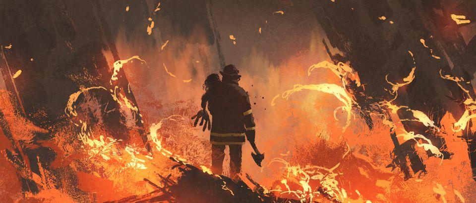 Firefighter holding girl standing in burning buildings, digital art style, illustration painting. (Tithi Luadthong/Shutterstock)