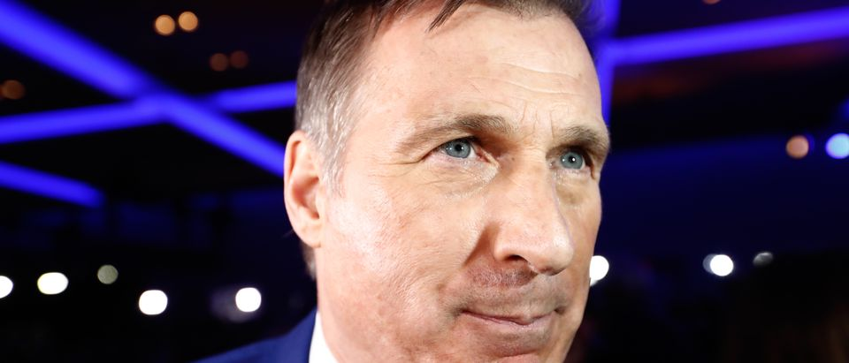 Maxime Bernier is interviewed after first results gave him first place during the Conservative Party of Canada leadership convention in Toronto