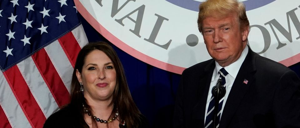 U.S. President Donald Trump is introduced by RNC chairwoman Ronna McDaniel at the Republican National Committee's winter meeting at the Washington Hilton in Washington, U.S., February 1, 2018. REUTERS/Yuri Gripas