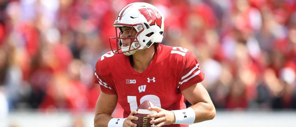 MADISON, WI - SEPTEMBER 08: Alex Hornibrook #12 of the Wisconsin Badgers looks to pass during the second half of a game against the New Mexico Lobos at Camp Randall Stadium on September 8, 2018 in Madison, Wisconsin. (Photo by Stacy Revere/Getty Images)