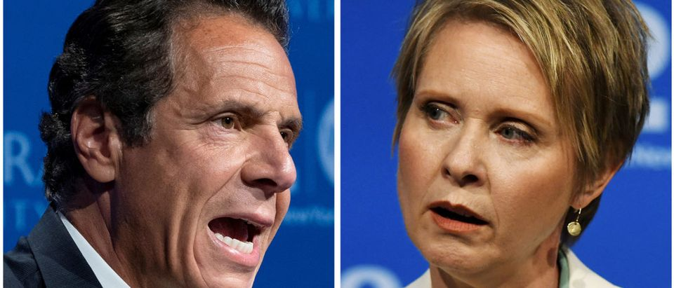 A combination photo of Governor Andrew M. Cuomo and actress and activist Cynthia Nixon, a first-time candidate mounting a challenge, are shown during a televised debate in Hempstead, New York