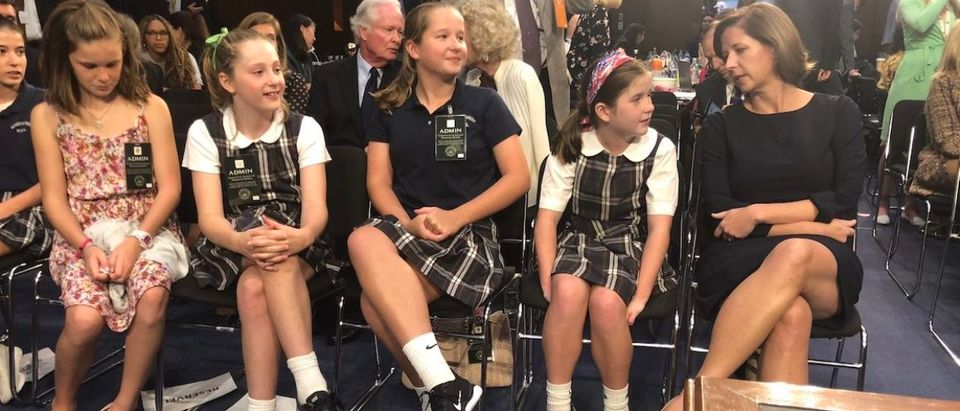 Ashley Kavanaugh with her daughters and other children from her daughters school. Obtained by Henry Rodgers:TheDCNF