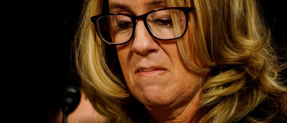 Christine Blasey Ford is seen before the Senate Judiciary Committee in the Dirksen Senate Office Building on Capitol Hill in Washington