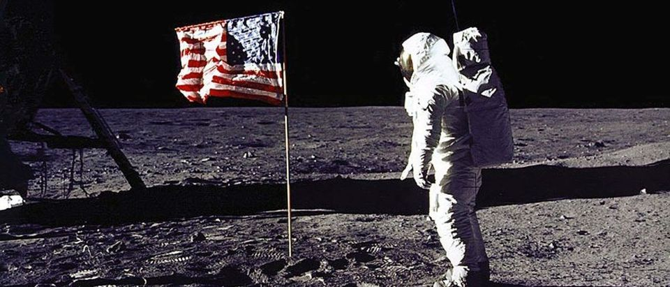 "This 20 July 1969 file photo released by NASA shows astronaut Edwin E. ""Buzz"" Aldrin, Jr. saluting the US flag on the surface of the Moon during the Apollo 11 lunar mission. (Photo: NASA/AFP/Getty Images)"