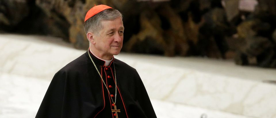 U.S. cardinal Blase Joseph Cupich waits for the arrival of Pope Francis to lead the general audience in Paul VI hall at the Vatican