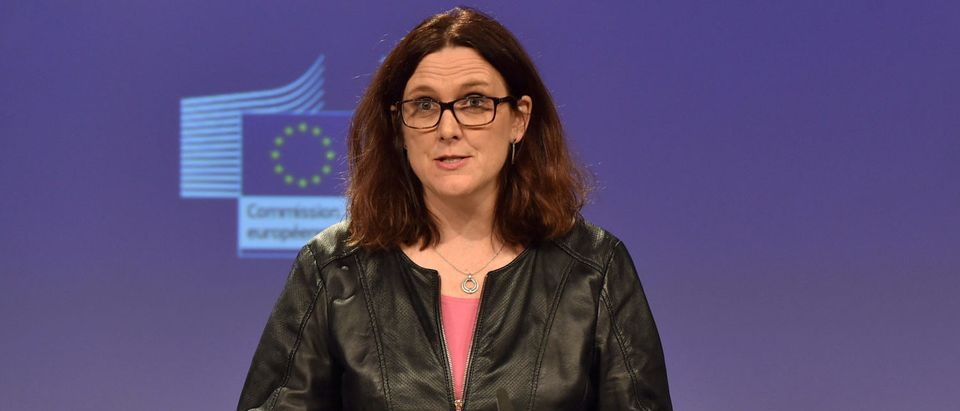 FILE PHOTO: European Commissioner Cecilia Malmstrom holds a news conference in Brussels, Belgium March 7, 2018. REUTERS/Eric Vidal/File Photo