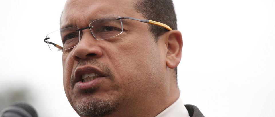Keith Ellison is accused of domestic abuse by his ex-girlfriend, Karen Monahan. (Photo by Alex Wong/Getty Images)