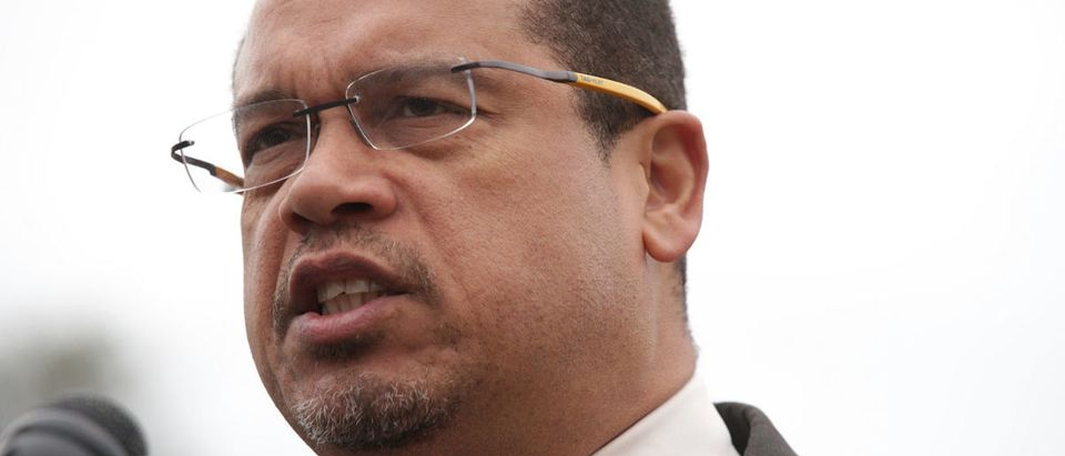Keith Ellison is accused of physically and emotionally abusing his ex-girlfriend, Karen Monahan. (Photo by Alex Wong/Getty Images)
