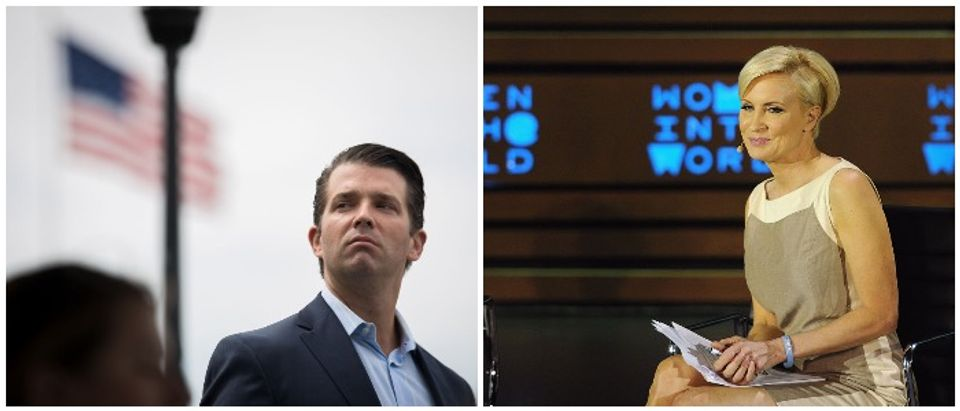 A side by side of Donald Trump Jr. and Mika Brzezinski (LEFT: Photo by Drew Angerer/Getty Images RIGHT: Photo by Andrew Toth/Getty Images)