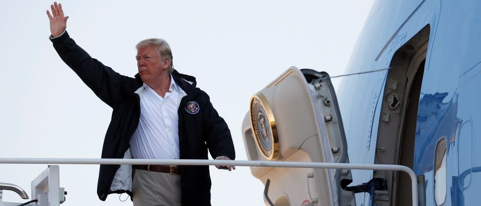 U.S. President Donald Trump departs Washington aboard Air Force One to visit areas affected by Hurricane Florence