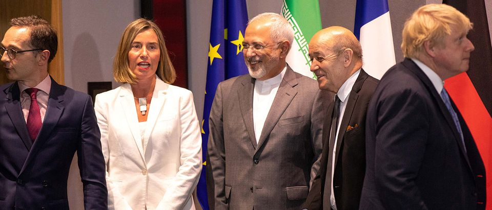 Britain's Foreign Secretary Johnson, German Foreign Minister Maas, French Foreign Minister Le Drian and EU High Representative for Foreign Affairs Mogherini take part in a meeting with Iran's Foreign Minister Mohammad Javad Zarif in Brussels