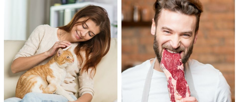 Middle-aged woman at home on the couch in the interior / Man biting raw meat on the kitchen [Shutterstock/Ross Helen/Anatoly Tiplyashin]