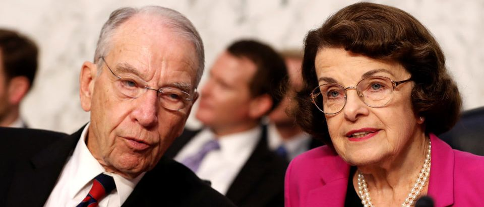U.S. Senators Grassley and Feinstein speak during U.S. Supreme Court Nominee Judge Kavanaugh's Senate confirmation hearing in Washington