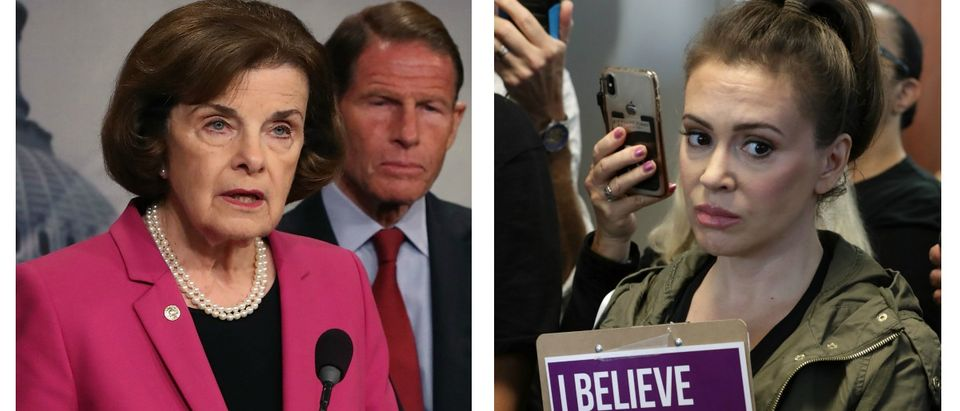 LEFT: Senate Judiciary ranking member Dianne Feinstein, (D-CA) is flanked by Sen. Richard Blumenthal (D-CT) while speaking about the Keep Families Together Act, which aims to prevent the separation of immigrant children from their parents, on Capitol Hill June 12, 2018 in Washington, DC. (Mark Wilson/Getty Images) RIGHT: Actor Alyssa Milano joins dozens of other protesters outside the offices of Sen. Lisa Murkowski (R-AK) while demonstrating against the appointment of Supreme Court nominee Judge Brett Kavanaugh in the Hart Senate Office Building on Capitol Hill September 26, 2018 in Washington, DC. (Chip Somodevilla/Getty Images)