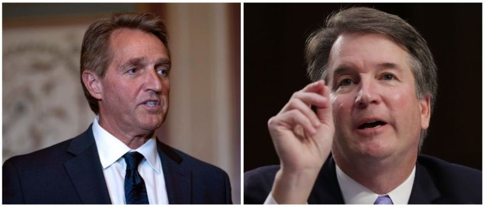 Jeff Flake and Brett Kavanaugh (LEFT: Toya Sarno Jordan/Getty Images RIGHT: (Photo by Chip Somodevilla/Getty Images)