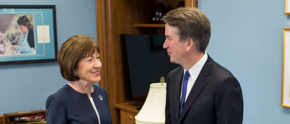Supreme Court Nominee Brett Kavanaugh meets with Sen. Susan Collins (R-ME) in her office on Capitol Hill on August 21, 2018 in Washington, DC. The confirmation hearing for Judge Kavanaugh is set to begin September 4. Photo by Zach Gibson/Getty Images