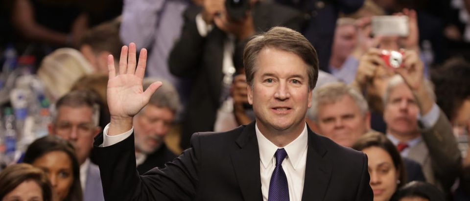 WASHINGTON, D.C. - SEPTEMBER 04: Supreme Court nominee Judge Brett Kavanaugh is sworn in before the Senate Judiciary Committee during his Supreme Court confirmation hearing in the Hart Senate Office Building on Capitol Hill September 4, 2018 in Washington, DC. Kavanaugh was nominated by President Donald Trump to fill the vacancy on the court left by retiring Associate Justice Anthony Kennedy. (Photo by Chip Somodevilla/Getty Images)