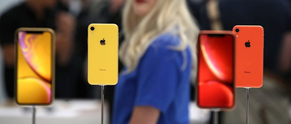 The new Apple iPhone XR is displayed during an Apple special event at the Steve Jobs Theatre on September 12, 2018 in Cupertino, California. Apple released three new versions of the iPhone and an updated Apple Watch. Photo by Justin Sullivan/Getty Images