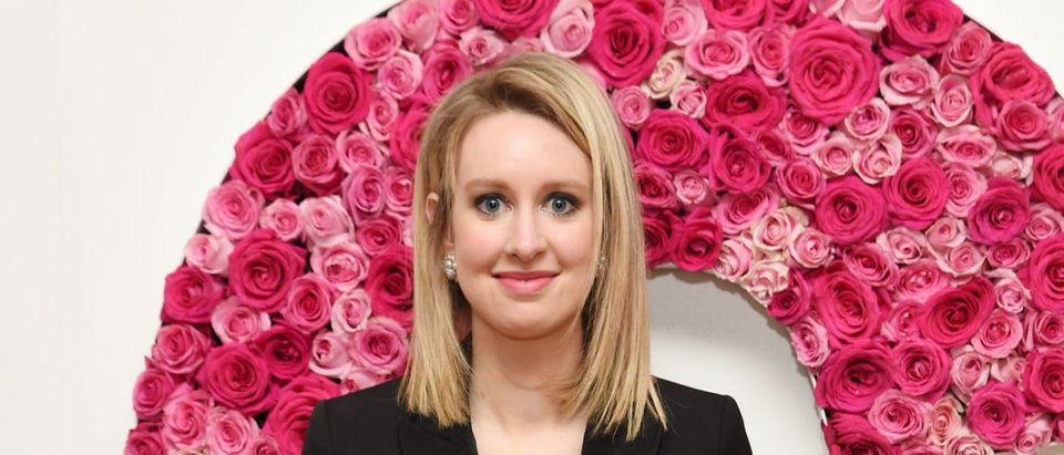 Honoree Elizabeth Holmes poses for a photo at the backstage inspiration wall at the 2015 Glamour Women of the Year Awards at Carnegie Hall on November 9, 2015 in New York City. Photo by Nicholas Hunt/Getty Images for Glamour