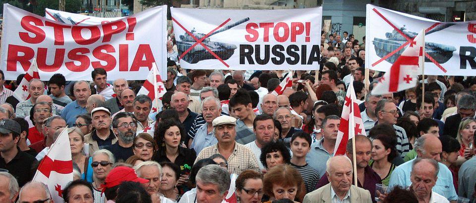 Georgians protest in Tbilisi's Republic
