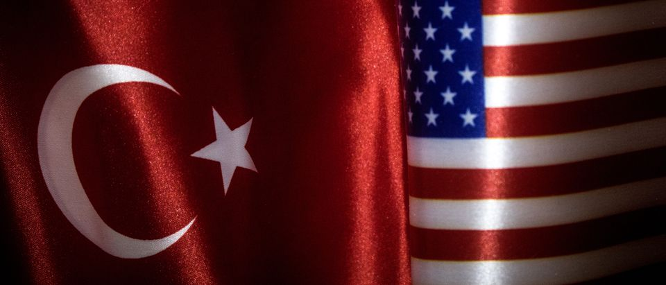 Views Of The Turkish And US National Flags