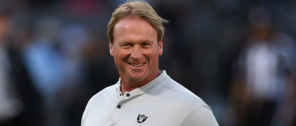 Head coach Jon Gruden of the Oakland Raiders looks on during warm ups prior to their NFL game against the Los Angeles Rams at Oakland-Alameda County Coliseum on September 10, 2018 in Oakland, California. (Photo by Thearon W. Henderson/Getty Images)