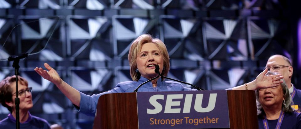 Democratic presidential candidate Hillary Clinton addresses Service Employees Union members at the union's 2016 International Convention in Detroit, Michigan, May 23, 2016. REUTERS/Rebecca Cook