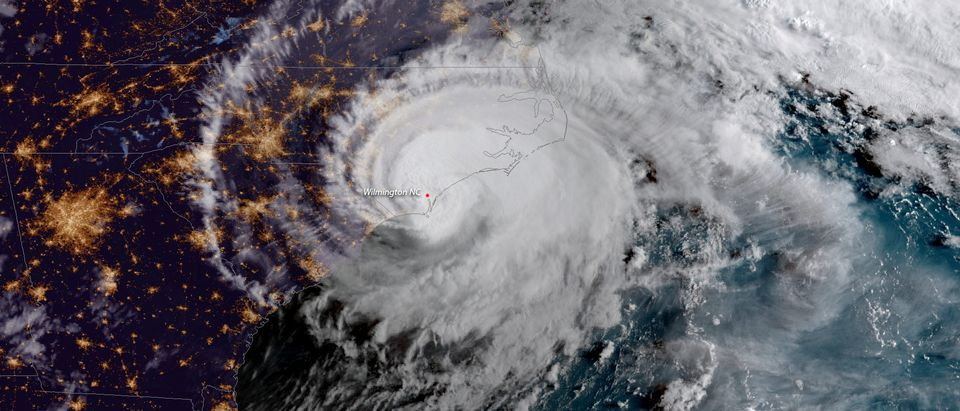 Handout photo of Hurricane Florence is shown from a National Oceanic and Atmospheric Administration (NOAA) #GOESEast satellite shortly after the storm made landfall near Wrightsville Beach, North Carolina
