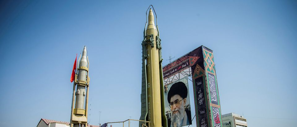 FILE PHOTO: Supreme leader display seen at Baharestan Square in Tehran