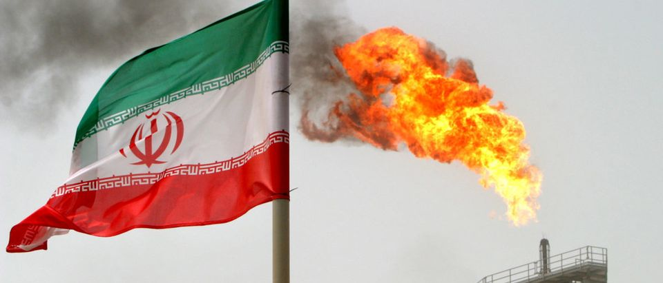 A gas flare on an oil production platform in the Soroush oilfields in Iran